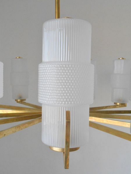 Murano Textured Glass Shades and Brass Chandelier 1