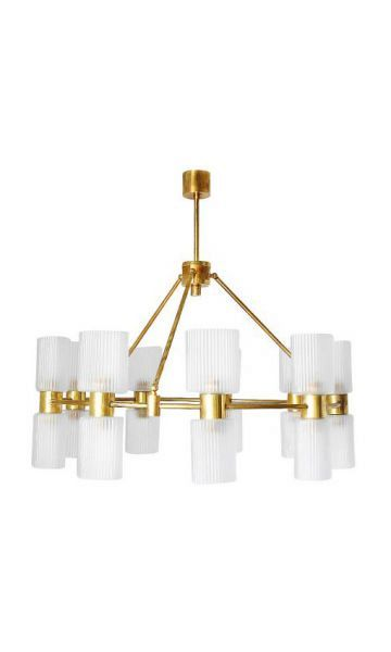 Murano Ribbed Glass and Brass Chandelier