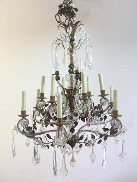 1920's Florentine beaded chandelier with leaf (11-86)