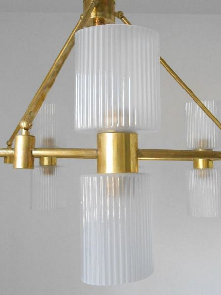 Murano Ribbed Glass and Brass Chandelier 1