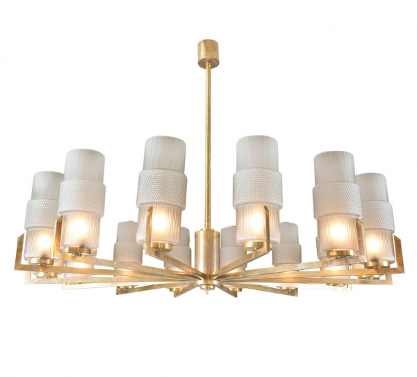 Murano Textured Glass Shades and Brass Chandelier 2