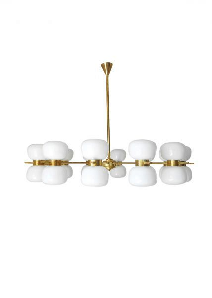 Murano Double White Glass Shades and Brass Chandelier